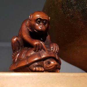 """Monkey """"hitching a ride"""" katabori netsuke"""
